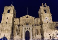 St. John Cathedral at night, Valletta, Malta Royalty Free Stock Images