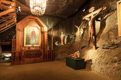 St. John Chapel in the Wieliczka, Poland. Wieliczka Salt Mine operated continuously since the 13th century. Underground Mine has over 300 corridors and 300 Royalty Free Stock Images