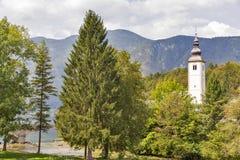 St John church on the Bohinj lake in Slovenia Royalty Free Stock Photo
