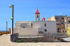 St John church, old city of Acre, Israel. View of the fortress walls and St John`s church, old city of Acre, Israel royalty free stock photo