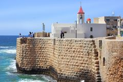 St John church, old city of Acre, Israel. View of the fortress walls and St John`s church, old city of Acre, Israel stock image