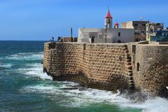 St John church, old city of Acre, Israel. View of the fortress walls and St John`s church, old city of Acre, Israel stock images