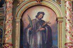 St John dell'altare di Nepomuk nella basilica del cuore sacro di Gesù a Zagabria Fotografia Stock