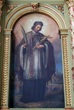 St John dell'altare di Nepomuk nella basilica del cuore sacro di Gesù a Zagabria Fotografia Stock Libera da Diritti