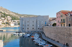 St John Fortress (14th c.) of Dubrovnik. St John Fortress (Mulo Tower, circa 14th c.) of Old Town of Dubrovnik (UNESCO site), Croatia. Protected Old Port, today Royalty Free Stock Image