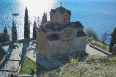 St John in Kaneo in Ohrid Royalty-vrije Stock Foto's