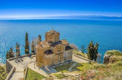 St John - Kaneo, ortodox kyrka i Ohrid, Makedonien Royaltyfri Bild