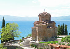 St. John at Kaneo`s Church against Lake Ohrid, Republic of Macedonia stock photography
