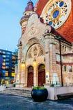 St John kościół przy nocą St John kościół jest kościół lokalizować w Innerstaden okręgu Malmo, Szwecja Zdjęcie Royalty Free