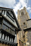 St John Maddermarket Church and a timbered framed and medieval house in Norwich, Norfolk, UK Stock Photo