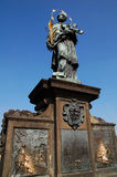 St. John of Nepomuk 2. St. John of Nepomuk statue in Charles bridge of Prague Stock Photography