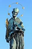 St. John of Nepomuk's Statue on Charles bridge in Prague, Czech republic Stock Image