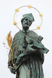 St. John of Nepomuk's Statue on Charles bridge in Prague, Czech republic Royalty Free Stock Photography