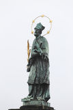 St. John of Nepomuk's Statue on Charles bridge in Prague, Czech republic Royalty Free Stock Photos
