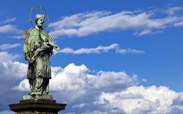St. John of Nepomuk Statue at Charles bridge, Prague, Czech Republic. Stock Image