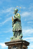 St. John of Nepomuk statue on Charles bridge of Prague Royalty Free Stock Photo