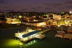 St John at night, Antigua. Antigua at night- St John view stock photos