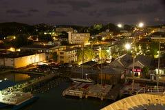 St John på natten, Antigua Arkivfoton