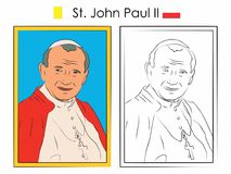 St. John Paul II colored. stock illustration