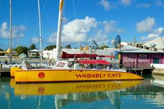 St John port, Antigua. Colourful boat in Antigua port full of boats,caribbean Royalty Free Stock Image