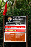 St. John Red Flag Warning Cinnamon Bay Beach Sign Stock Photo