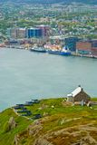 St. Johns, Newfoundland. Queens Battery and Barracks and St-Johns harbour, St-Johns, Newfoundland royalty free stock image