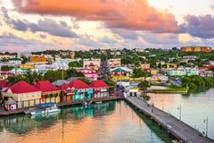 St. John`s, Antigua. Port and skyline at twilight royalty free stock photos