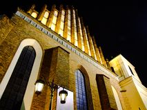 St. John`s Archcathedral in Warsaw in Poland at night. View on facade. Catholic church in Warsaw`s Old Town. The church has been listed by UNESCO as of Stock Photo