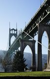 St. John's Bridge Portland, Oregon USA. Iconic transportation infrastructure designed in  a Gothic style-  inspired steel suspension bridge - St. John's Bridge Stock Photo