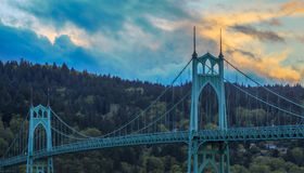 St. John's Bridge in Portland Oregon, USA. Beautiful Image of Saint John's Bridge in Portland, Oregon Stock Photo