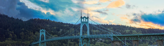 St. John's Bridge in Portland Oregon, USA. Beautiful Image of Saint John's Bridge in Portland, Oregon Royalty Free Stock Photography