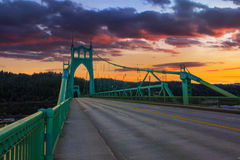 St. John's Bridge in Portland Oregon, USA. Beautiful Sunset Image of Saint John's Bridge in Portland, Oregon Stock Images