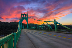St. John's Bridge in Portland Oregon, USA. Beautiful Sunset Image of Saint John's Bridge in Portland, Oregon Royalty Free Stock Image