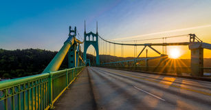 St. John's Bridge in Portland Oregon, USA. Beautiful Sunset Image of Saint John's Bridge in Portland, Oregon Royalty Free Stock Photo
