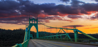 St. John's Bridge in Portland Oregon, USA. Beautiful Sunset Image of Saint John's Bridge in Portland, Oregon Stock Image