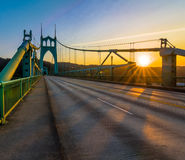 St. John's Bridge in Portland Oregon, USA. Beautiful Sunset Image of Saint John's Bridge in Portland, Oregon Stock Photo