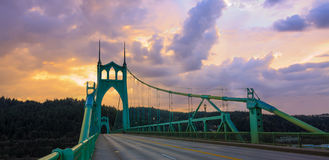 St. John's Bridge in Portland Oregon, USA. Beautiful Sunset Image of Saint John's Bridge in Portland, Oregon Royalty Free Stock Photography