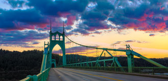 St. John's Bridge in Portland Oregon, USA. Beautiful Sunset Image of Saint John's Bridge in Portland, Oregon Royalty Free Stock Images