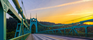 St. John's Bridge in Portland Oregon, USA. Beautiful Sunset Image of Saint John's Bridge in Portland, Oregon Stock Photography