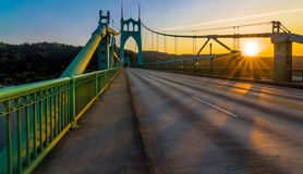 St. John's Bridge in Portland Oregon, USA. Beautiful Sunset Image of Saint John's Bridge in Portland, Oregon Stock Photos