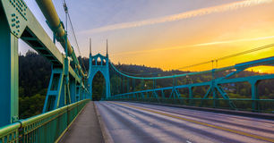 St. John's Bridge in Portland Oregon, USA. Beautiful Sunset Image of Saint John's Bridge in Portland, Oregon royalty free stock photos