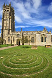 St John's church in Glastonbury, Somerset, England. United Kingdom (UK). The labyrinth can be seen in the foreground stock photo