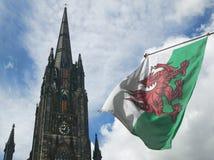 St. John´s church tower and scotland flag. Edinburgh. UK. Horizontal stock photography