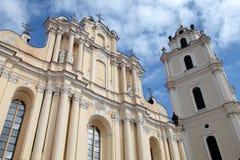 St John's Church in Vilnius University, Vilnius, Lithuania. Perspective view of St John's Church in Vilnius University, Vilnius, Lithuania on blue sky Stock Photography