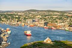 St. John`s cityscape, capital city of Newfoundland and Labrador,. St. John`s cityscape with a port, capital city of Newfoundland and Labrador, Canada royalty free stock photo