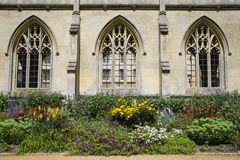St. John's College in Cambridge. A beautiful close-up view of the architecture and flowers at St. John's College in Cambridge, UK Stock Photography