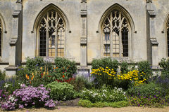 St. John's College in Cambridge. A beautiful close-up view of the architecture and flowers at St. John's College in Cambridge, UK Stock Photo