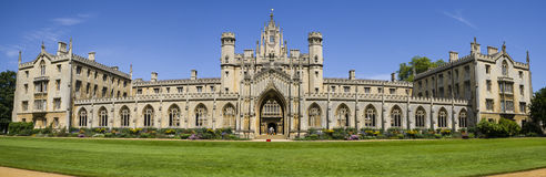 St. John's College in Cambridge. A panoramic view of the historic St. John's College in Cambridge, UK Royalty Free Stock Photography