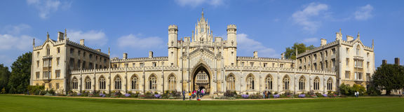St. John's College in Cambridge. A panoramic view of the magnificent St. John's College in Cambridge, UK Royalty Free Stock Photography