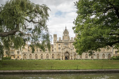 St John`s College, Cambridge. College view from a punt on the River Cam Stock Image